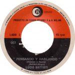 1971 – Pensando y hablando/Insieme a te sto bene – Lucio Battisti (Venezuela)