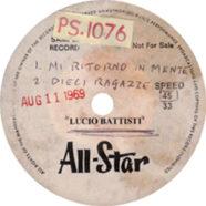 11/08/1969 – Mi ritorni in mente/Dieci ragazze – Lucio Battisti – Acetato (Stati Uniti)