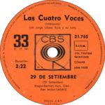 1967 – 29 de setiembre/Corazon de papel – Las Cuatro Voces (Argentina)