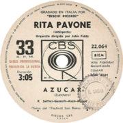 1969 – Azucar / Nostalgia – Rita Pavone – (Argentina promo)