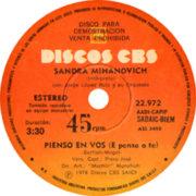 1978 – Pienso en vos / Picarino, escuchame – Sandra Mihanovich (Argentina promo)