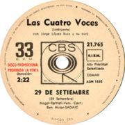 1967 – 29 de setiembre / Corazon de papel – Las Cuatro Voces (Argentina promozionale)